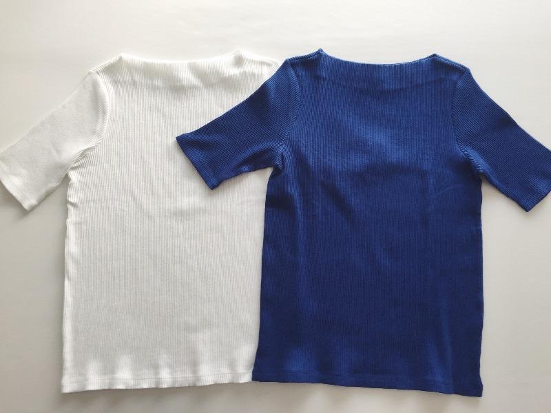 ユニクロ リブボートネックTシャツ