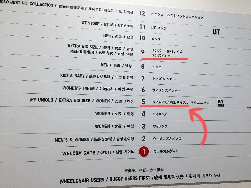 ユニクロ銀座店 案内図