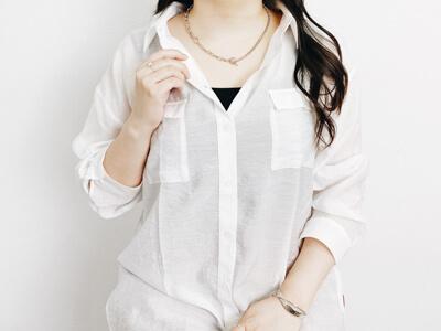 しまむらアベイル シルバーネックレス 着用コーデ